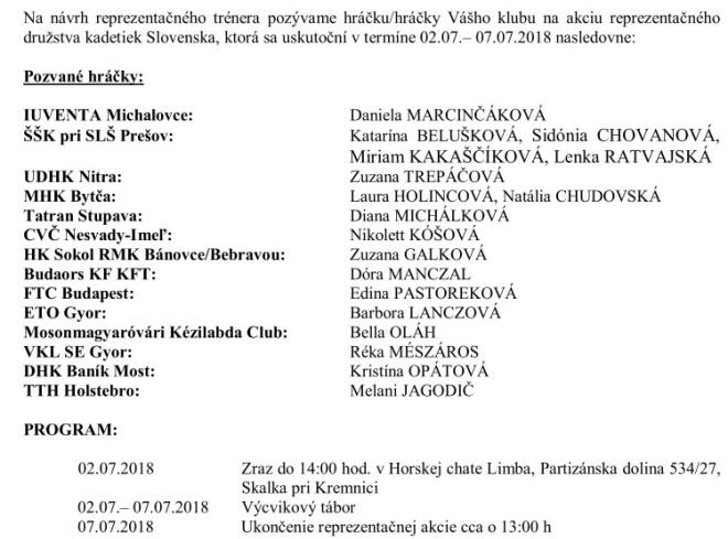 Aj druhý júlový reprezentačný zraz s našou Galkovou!