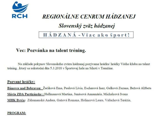 """Ďalší """"Talent tréning"""" aj s Bánovčankami"""