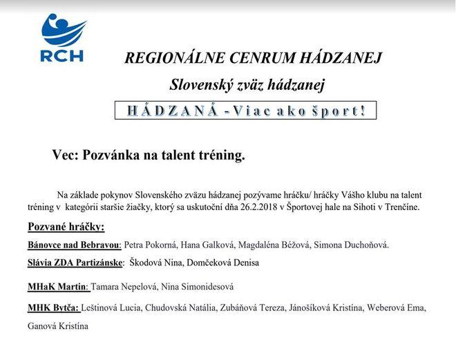 Talent tréning aj s našimi 4 hráčkami!